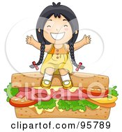 Cute Little Asian Girl Sitting On Top Of A Giant Sandwich