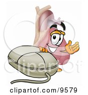 Clipart Picture Of A Heart Organ Mascot Cartoon Character With A Computer Mouse by Toons4Biz