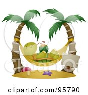 Royalty-Free (RF) Clipart Illustration of a Relaxed Tortoise Sipping A Cocktail In A Hammock Suspended Between Palm Trees by BNP Design Studio #COLLC95790-0148