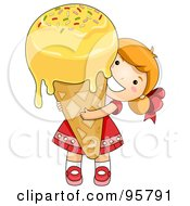 Cute Little Girl Carrying A Large Dripping Waffle Cone
