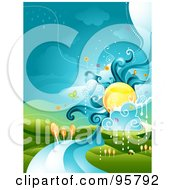 Royalty Free RF Clipart Illustration Of A Sun Over A River Landscape With Rain Clouds by BNP Design Studio