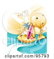 Royalty Free RF Clipart Illustration Of Two Surfboards And Starfish On A Sunny Tropical Island by BNP Design Studio