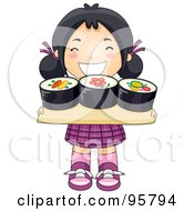 Cute Little Asian Girl Carrying A Sushi Tray