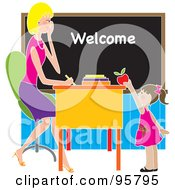 Royalty Free RF Clipart Illustration Of A Cute Brunette School Girl Putting An Apple On A Beautiful Blond Teachers Desk by Maria Bell