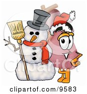 Heart Organ Mascot Cartoon Character With A Snowman On Christmas
