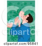 Royalty Free RF Clipart Illustration Of A Dad With Baby 1 by mayawizard101