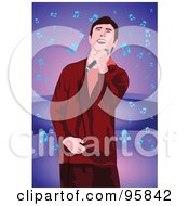 Royalty Free RF Clipart Illustration Of A Performing Male Singer 4