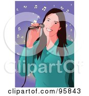 Royalty Free RF Clipart Illustration Of A Performing Female Singer 2