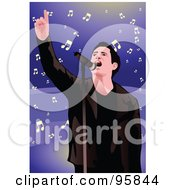Royalty Free RF Clipart Illustration Of A Performing Male Singer 2