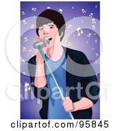 Royalty Free RF Clipart Illustration Of A Performing Male Singer 3
