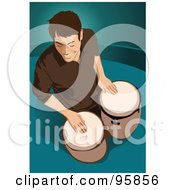 Royalty Free RF Clipart Illustration Of A Bongo Drum Player 2 by mayawizard101