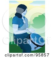 Royalty Free RF Clipart Illustration Of A Lady Drummer by mayawizard101