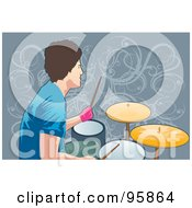 Royalty Free RF Clipart Illustration Of A Male Drummer 3 by mayawizard101