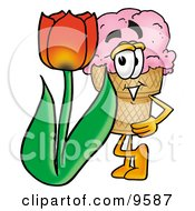 Clipart Picture Of An Ice Cream Cone Mascot Cartoon Character With A Red Tulip Flower In The Spring by Toons4Biz