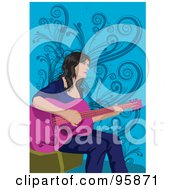 Royalty Free RF Clipart Illustration Of A Guitarist Lady