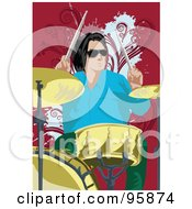Royalty Free RF Clipart Illustration Of A Male Drummer 1 by mayawizard101