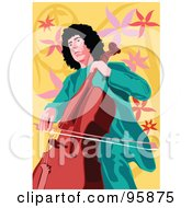 Royalty Free RF Clipart Illustration Of A Male Celloist