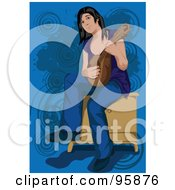 Royalty Free RF Clipart Illustration Of A Guitarist Woman 1