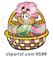Clipart Picture Of An Ice Cream Cone Mascot Cartoon Character In An Easter Basket Full Of Decorated Easter Eggs
