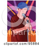 Royalty Free RF Clipart Illustration Of A Performing Male Singer 5