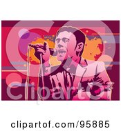 Royalty Free RF Clipart Illustration Of A Performing Male Singer 17