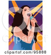 Royalty Free RF Clipart Illustration Of A Performing Female Singer 3