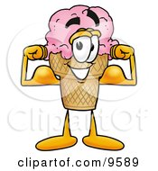 Clipart Picture Of An Ice Cream Cone Mascot Cartoon Character Flexing His Arm Muscles by Toons4Biz