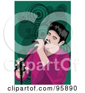 Royalty Free RF Clipart Illustration Of A Performing Male Singer 22