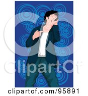 Royalty Free RF Clipart Illustration Of A Performing Male Singer 23