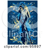 Royalty Free RF Clipart Illustration Of A Performing Male Singer 7