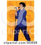 Royalty Free RF Clipart Illustration Of A Performing Male Singer 21