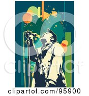 Royalty Free RF Clipart Illustration Of A Performing Male Singer 16