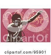 Royalty Free RF Clipart Illustration Of A Performing Male Singer 11