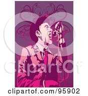 Royalty Free RF Clipart Illustration Of A Performing Male Singer 14