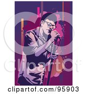 Royalty Free RF Clipart Illustration Of A Performing Male Singer 13