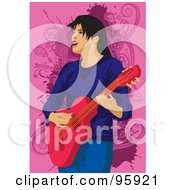 Royalty Free RF Clipart Illustration Of A Guitarist Woman 2