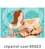 Royalty Free RF Clipart Illustration Of A Guitarist Woman 3
