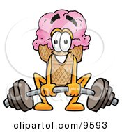 Clipart Picture Of An Ice Cream Cone Mascot Cartoon Character Lifting A Heavy Barbell by Toons4Biz