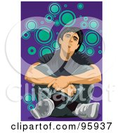 Royalty Free RF Clipart Illustration Of A Man Feeling Sad 1 by mayawizard101