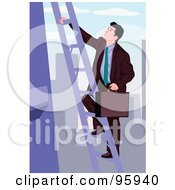 Royalty Free RF Clipart Illustration Of A Corporate Business Man Climbing A City Ladder