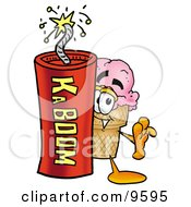 Clipart Picture Of An Ice Cream Cone Mascot Cartoon Character Standing With A Lit Stick Of Dynamite