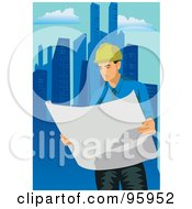 Royalty Free RF Clipart Illustration Of A Working Engineer 3 by mayawizard101
