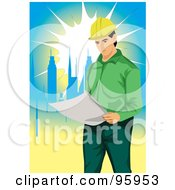 Royalty Free RF Clipart Illustration Of A Working Engineer 5 by mayawizard101