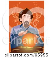 Royalty Free RF Clipart Illustration Of A Psychic Fortune Teller With A Crystal Ball 3
