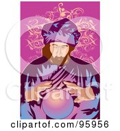 Royalty Free RF Clipart Illustration Of A Psychic Fortune Teller With A Crystal Ball 4
