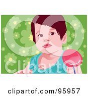 Royalty Free RF Clipart Illustration Of A Girl Eating A Loli Pop 2