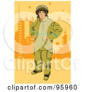 Royalty Free RF Clipart Illustration Of A City Fireman by mayawizard101