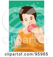 Royalty Free RF Clipart Illustration Of A Little Boy Enjoying A Loli Pop by mayawizard101