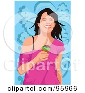 Royalty Free RF Clipart Illustration Of A Woman Enjoying An Ice Cream Cone 4 by mayawizard101