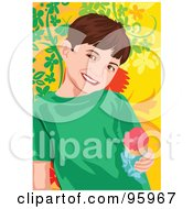 Royalty Free RF Clipart Illustration Of A Little Boy Enjoying An Ice Cream Cone 2 by mayawizard101